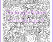 Adult coloring page Zentangle Pattern, zentangle inspired coloring sheet, printable art original, PDF