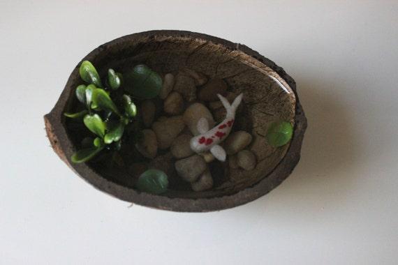 Miniature koi pond in coconut fake koi pond polymer clay koi for Fake fish for pond