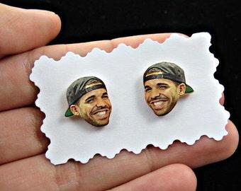 drake earrings - drake studs - polymer clay earrings - polymer clay studs - celebrity earrings - drizzy earrings - drake jewelry