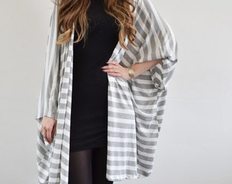 Grey & white striped jersey oversized kimono