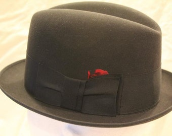 Vintage Black 3X Towncraft Fedora Trilby Homburg  Dress Hat Size 6 3/4 to 6 7/8