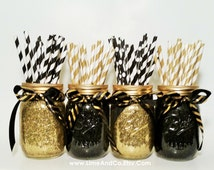Mason Jar Centerpiece, Wedding Centerpiece, Graduation Party Decorations, Black and Gold Decor, Birthday Party, Wedding Decor, Set of 4