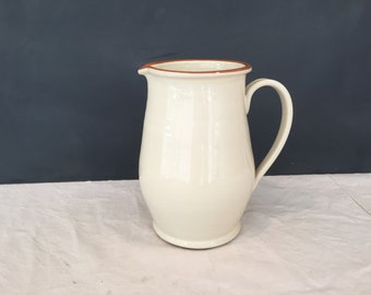 Vintage Ceramic Cream Colored Pitcher - Pottery - Made in Italy - Virginia SRL - Tuscan //  LNJ