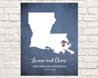 Louisiana Couple's State Map - Gift for Couple, Valentine's Gift, Wedding print, Anniversary Gift, Bridal Shower Gift,Housewarming Gift