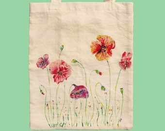 SPRING is here! poppy flower tote bag / cotton tote / market bag / gift under 20 / field flower tote / tote for her