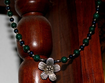 Jade and Czech Glass Pewter Flower Necklace