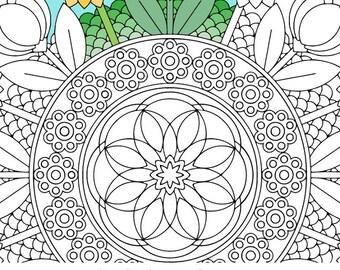 Mandala Coloring Page Goddess Brooch Printable