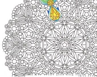 mandala coloring page sunstones instant download mandala art coloring page rainy day fun - Art Therapy Coloring Pages Mandala