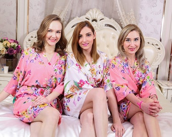 I03340 Best Bridesmaid Gift Ideas Royal Blue Floral Robes For Bridesmaids Cheap Waffle Robe Spa Robe For Women Cotton Spa Robe