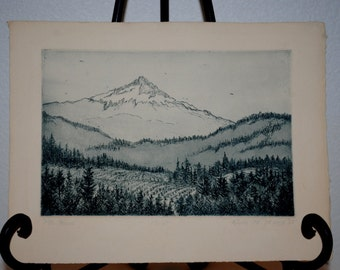 Ink Drawing, 1985 Ink Drawing of Mt. Hood, Oregon, Signed Ink Artwork, 17/20 Series, Mountain and Nature Drawing, Wall Art, Wall Decor