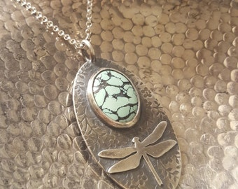 Kingman Mine Turquoise Necklace, Dragonfly, Sterling Silver and Turquoise