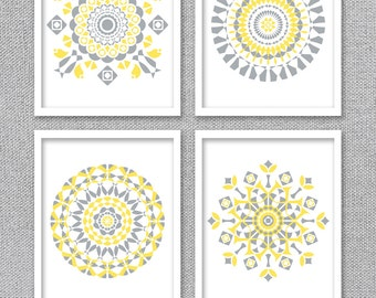 Printable Art, Mandala Art, Gray and Yellow Wall Art, Printable Wall Art, Instant Download Art, Digital Prints, Mandala Prints, Tribal Art