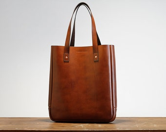 Leather Tote Bag, Medium, Laptop, Folio, Macbook, Brown, Australian