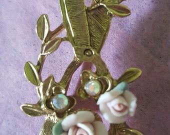 "Vintage Garden Sheers Pin Brooch Ceramic Roses Pink Rhinestones & Leaves, 2"", Near Mint Lady Like Feminine Antique"