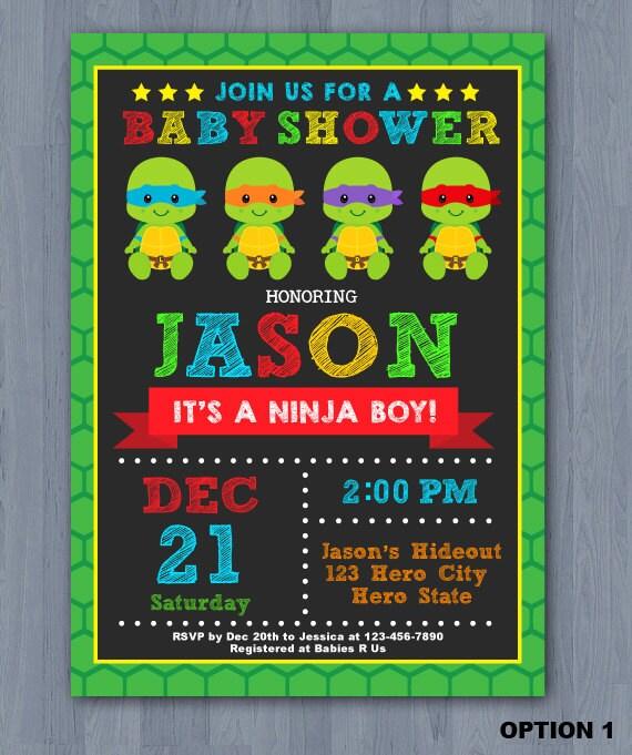 ninja turtles baby shower invitation ninja turtle baby shower