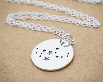 Virgo Constellation Necklace, Sterling Silver, Virgo Necklace, Zodiac Virgo, Virgo Jewelry, Virgo Pendant, Constellation Jewelry