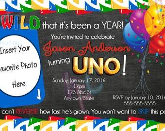 "1st Birthday Uno Card 4""x6"" Printable Invitation {Digital File Only}"