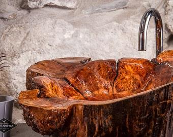 Big Burled Wood vessel Sink Wooden Rustic bohemian decor Bathroom by TOUTANBWA