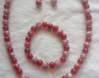 Red and White Beaded Jewelry Set  (#529)