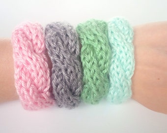 Cable Knit Bracelets Set of 2, Knitted Bracelet, Handmade Jewelry- Choose Your Colors