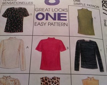 McCall's Top Pattern 8277  Size Small 8-10 OOP, classic, jewel neckline, mock turtleneck, long or short sleeves