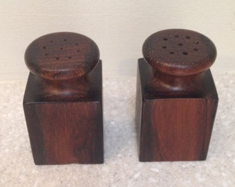 Rosewood  Hand Turned  Salt & Pepper Shakers - Mid Century Retro - Custom Made One-of-a-Kind