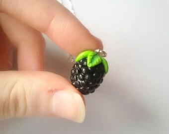 Blackberry necklace, forest necklace, miniature food jewelry, kawaii necklace, forest jewelry, fruit necklace, berry necklace, fruit jewelry