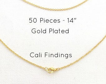 """50 Pcs GOLD PLATED 14"""" Finished Chain, Flat Shiny Cable Chain Soldered, 1.75 x 1.85mm, 50 Pieces, Wholesale Gold Chain, Bulk Chains, 14 inch"""