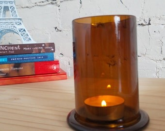 Upcycled Stubby Bottle Brown/Ambar Tea Light Candle Holder Lantern
