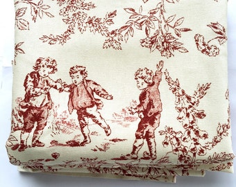 Red and Cream Toile Fabric Colonial Children in the Countryside Chic 1.5 Yards Approx.