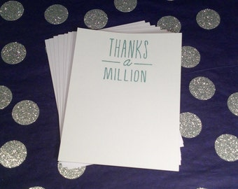 Thanks a Million/Thank You Notes and Envelopes - Green and White - Set of 8
