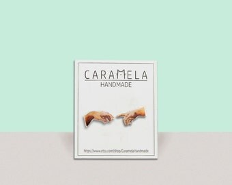 The Creation of Adam Stud Earrings/ Michelangelo painting stud earrings / POST EARRINGS / GIFT