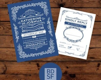 Printable Wedding Invitations // Vintage Design // Chose Wording and Colors // DIY Printable Wedding Invites // Fully Customizable
