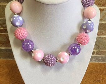 Bubblegum Necklace, Pink, Lavender Purple, Chunky Bubblegum Necklace, Chunky Bead Necklace, Girls Necklace, Gumball Necklace, Photo Prop