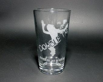 Zombie Apocalypse Pint Glass - Double Tap Zombie Pint Glass - Zombie Survival Pint Glass - Halloween Zombie Glass