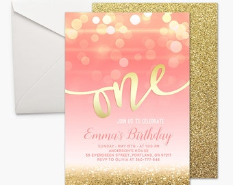 Pink and Gold First Birthday Invitation Girl 1st Birthday Pink And Gold Birthday Invitation ONE Birthday Party Invitation Bokeh Printable