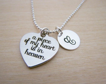 A Piece of My Heart Necklace - Memory Necklace - Memorial Necklace - Personalized Necklace - Initial Jewelry - Monogram Necklace