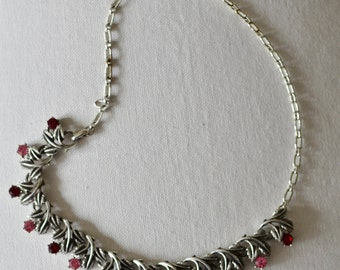 1950s Vintage Necklace Diamante Red and Pink Crystal Silver Chain