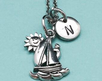 Sailboat necklace, sailboat charm, boat necklace, personalized necklace, initial necklace, initial charm, monogram