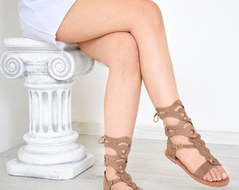 Ancient Greek Women Sandals, Gladiator, Light Brown Color, Nubuck, Handmade By Sparta Sandals, High Quality, Genuine Leather