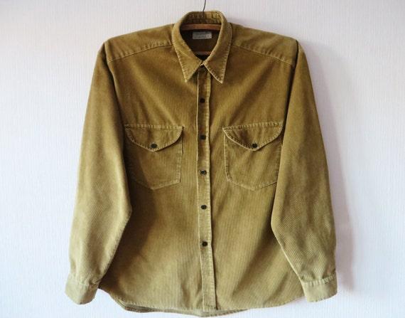 Khaki brown corduroy shirt men 39 s long sleeve button up for Khaki button up shirt