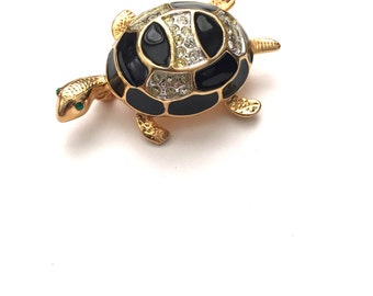 Gold Plated Enamel and Clear Pave Rhinestone Turtle Brooch, Animal Brooch, Animal Jewelry,