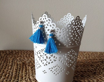 Electric Blue Silver wrapped Thread Tassels on Silver Post Earrings. Boho Chic!