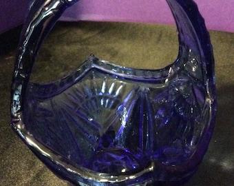 Cobalt Blue Glass Basket/Nut and Candy Bowl/Trinket Bowl