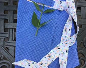 Blue Check and Mini Floral. Half Apron with Towel Loop. Cafe Apron. Upcycled Men's Shirt Half Apron.
