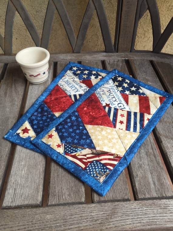 One Blue Patriotic Mug Rug In Red White And Blue Patriotic
