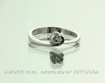Modern Engagement Ring Amore, heart shaped diamond and white gold