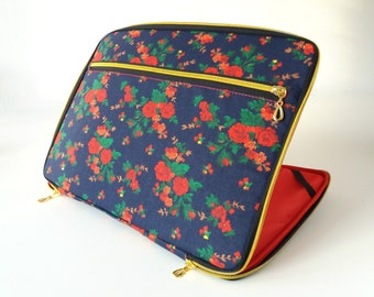 Macbook Air case,flowers,roses,pocket,cotton,floral,zipper,red,navy blue,macbook case air 13,gold,macbook air 13 case,macbook sleeve,air,14