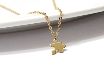 Matte Puzzle Piece Necklace, Gold Jigsaw Puzzle Piece Charm, Gold Puzzle Charm, Birthday Gift best friend, Sale, Graduation Gift,