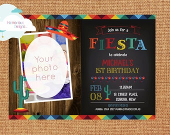 Mexican Fiesta Birthday Invitation, DIGITAL Print, 5 x 7 inches, Customizable, Photo, Cactus, Red, Picture, First Birthday